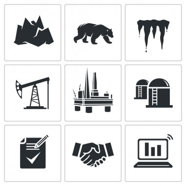 Oil production in  Arctic  Icons