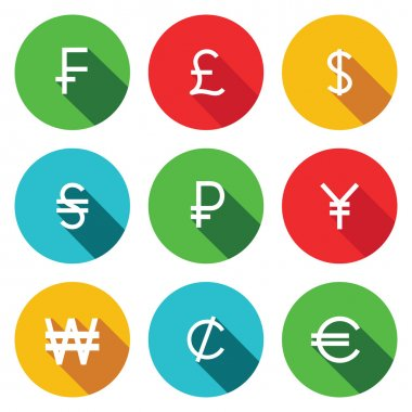 Currency, money flat icon set