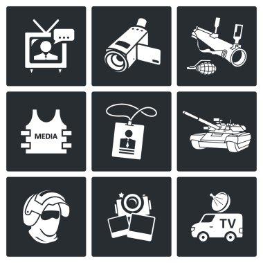 Media in war Icons set