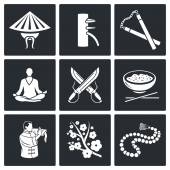 Fotografie Kampfkunst, Wing Chun Vector Icons Set