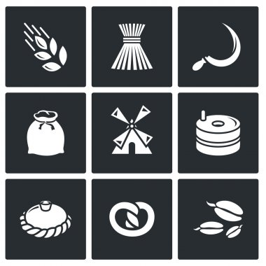 Mill and bread icons set