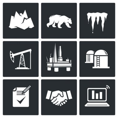Arctic and oil production Icons Set
