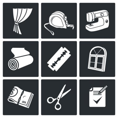 Sewing curtains service  Icons Set