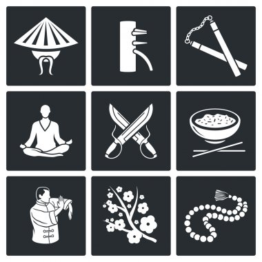 Martial Arts, Wing Chun Vector Icons Set