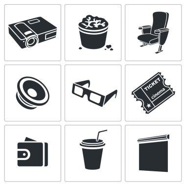 Visiting cinema Icons Set