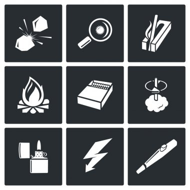 Make  fire,  fire source icons