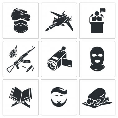 Crime and religion  Icons Set