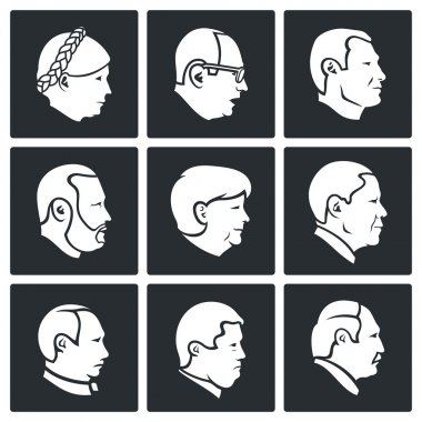 Politics People head  Icons Set