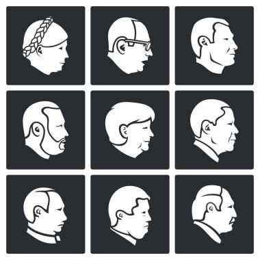 Politics People head  Icons Set