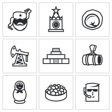 Russian, food, attraction, industry icons