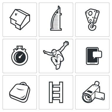 Roofer icons set