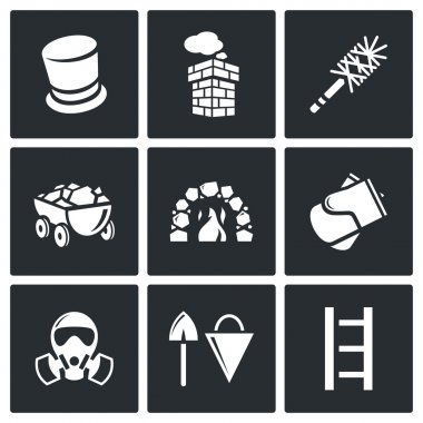 Chimney and heating coal icons set.  Flat Icons collection on a black background for design stock vector
