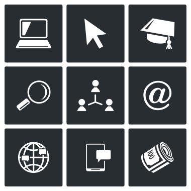 Computer literacy icons set