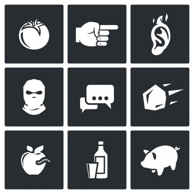 Shame, ridicule Flat Icons collection