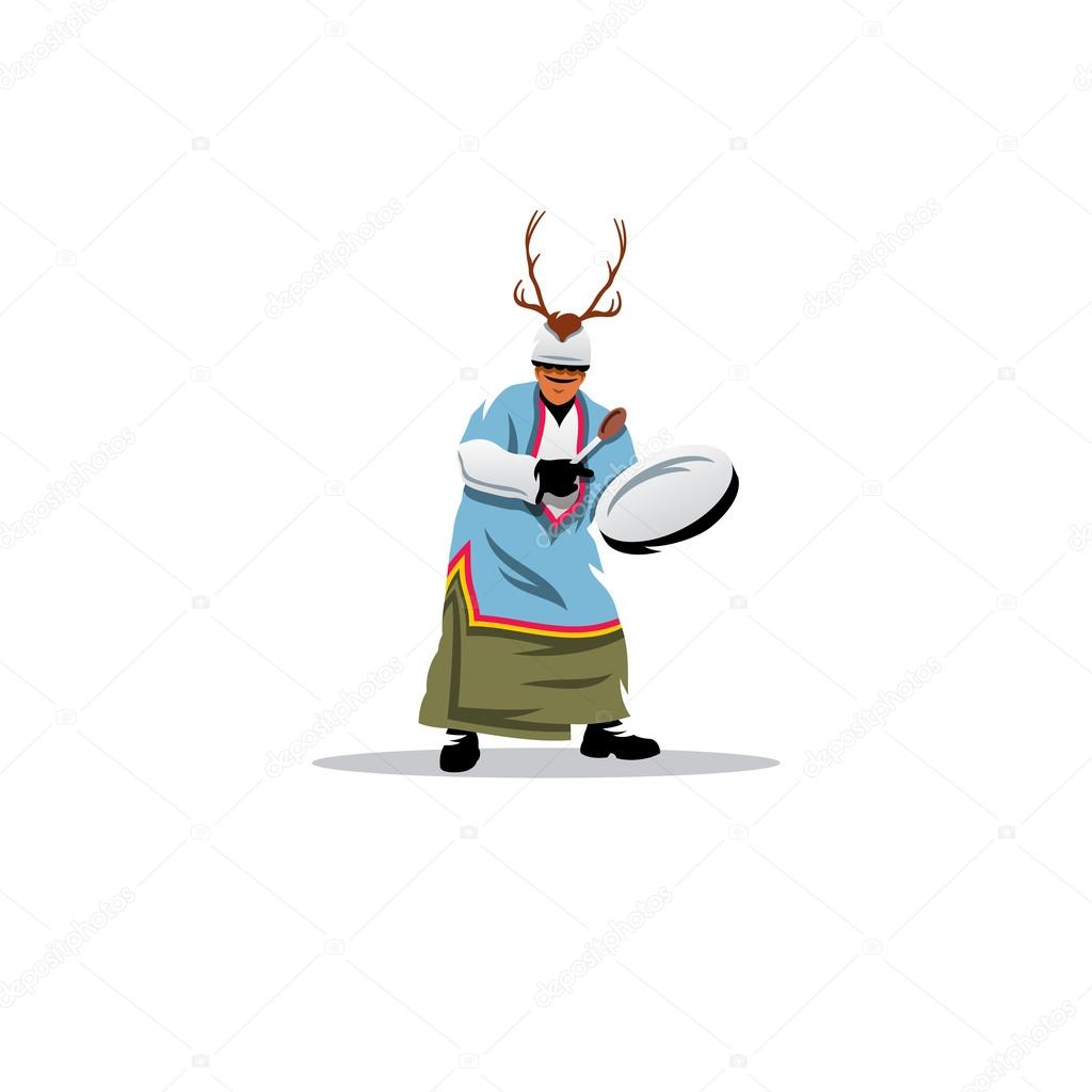 Shaman with a tambourine. Vector Illustration.