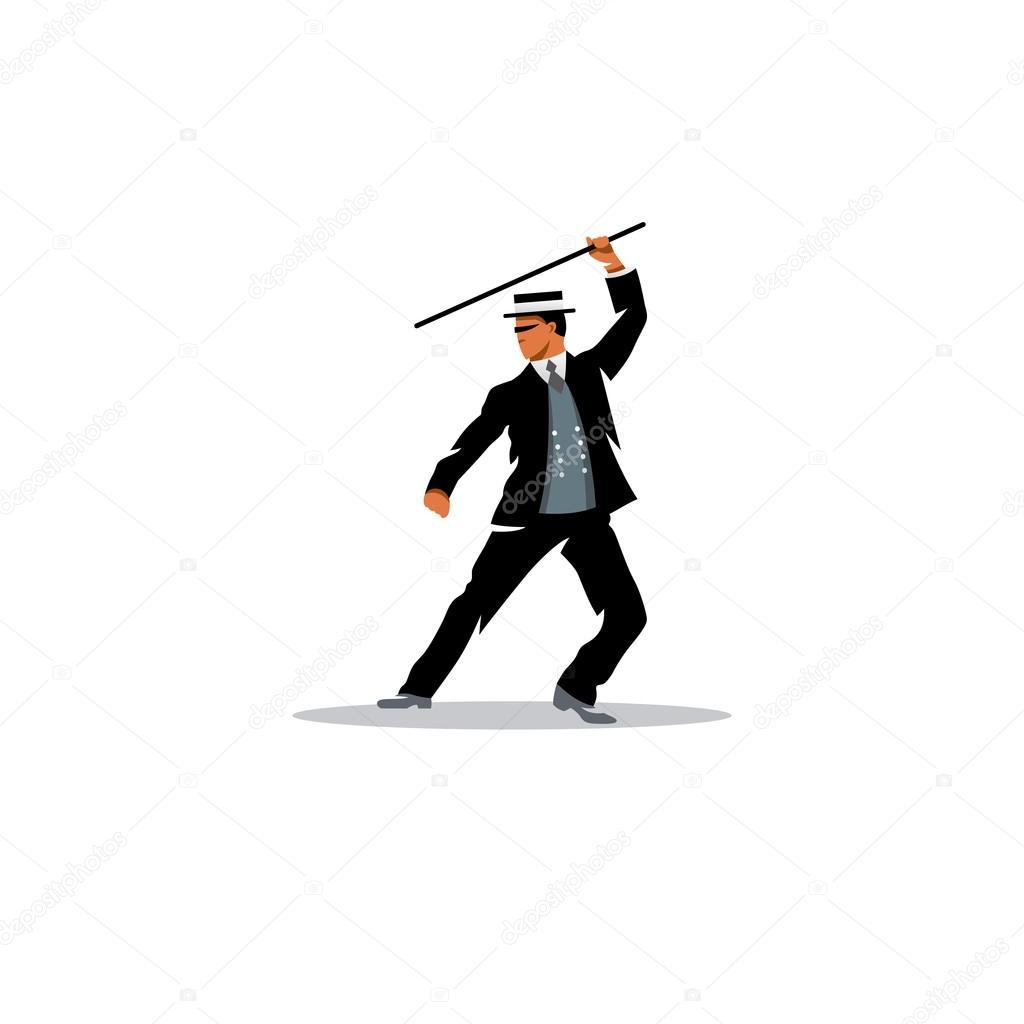 Mann mit Spazierstock Zeichen — Stockvektor © steinar14 #81299086