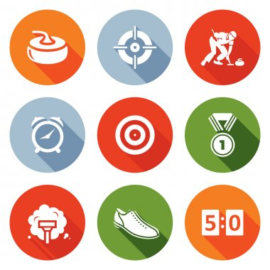 Curling Icons Set