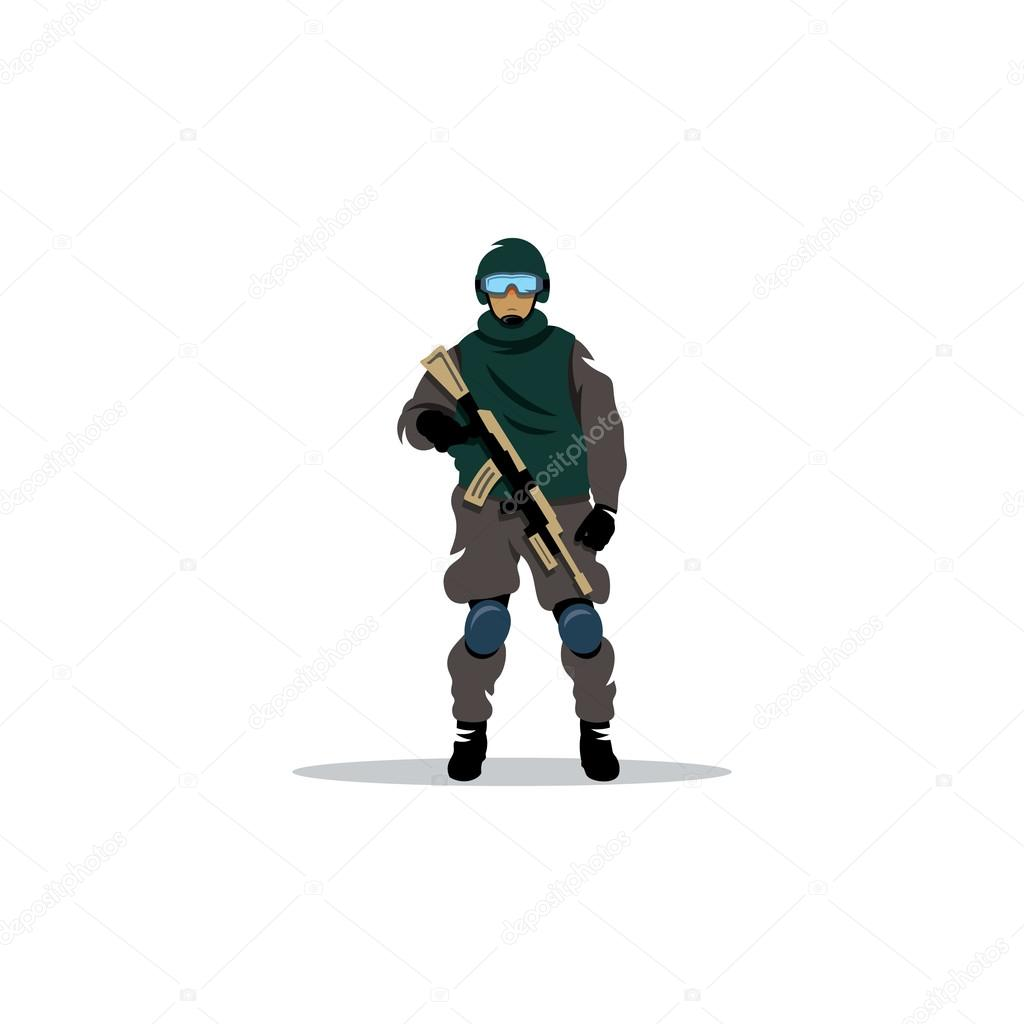 Commando man. Vector Illustration. Police officer in uniform and face mask on a white background stock vector