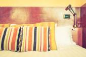 Photo Pillows and bed decoration with morocco style