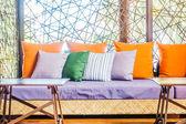 Photo Beautiful luxury Pillows on sofa
