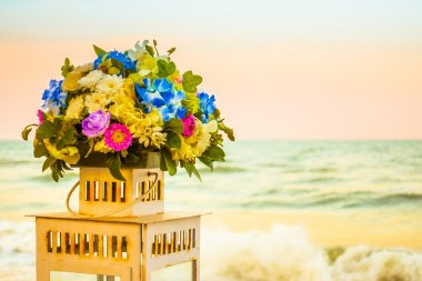Bouquet flower with sea background