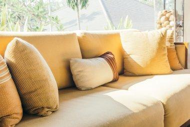 Beautiful luxury pillows on sofa