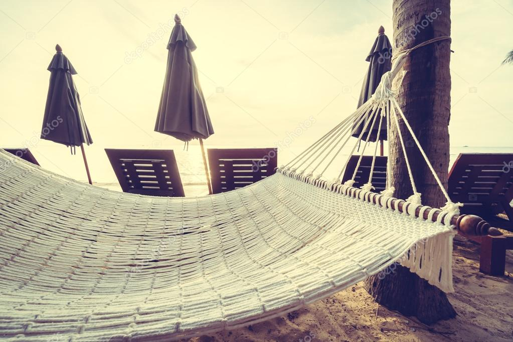 Empty hammock on the beach