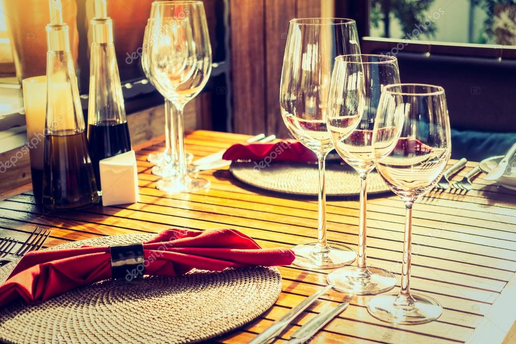 Wine Glass With Table Setting Stock Photo Mrsiraphol - Wine glass table setting