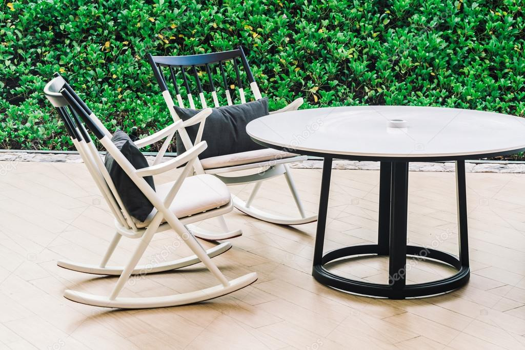 Table and Chairs with outdoor deck