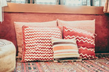 Pillows on sofa with morocco style