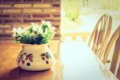 Váza rostlina s výhledem na venkovní