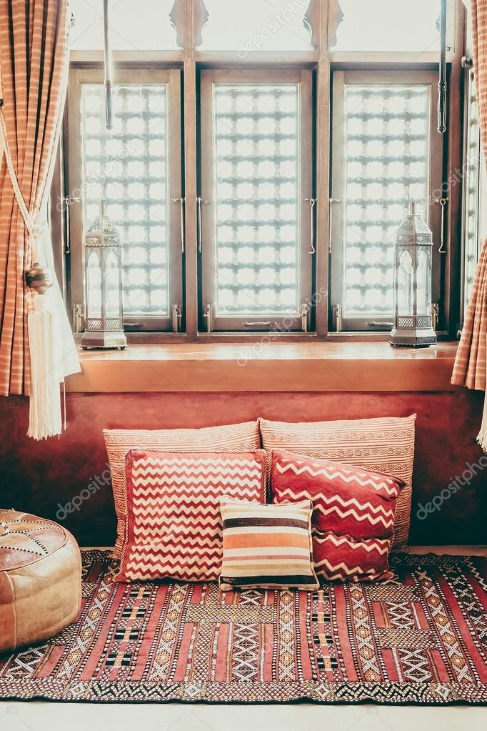Pillows On Sofa With Morocco Style Stock Photo