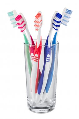 tooth brushes glass