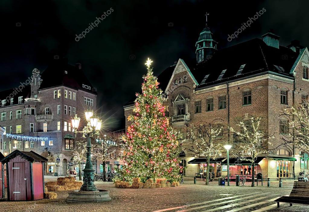 Christmas Tree On The Stortorget Square Of Lund In The