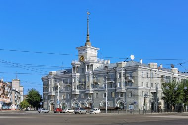 House under spire in Barnaul, Russia