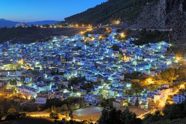 Evening view of Chefchaouen, Morocco