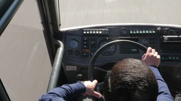 Man driving bus