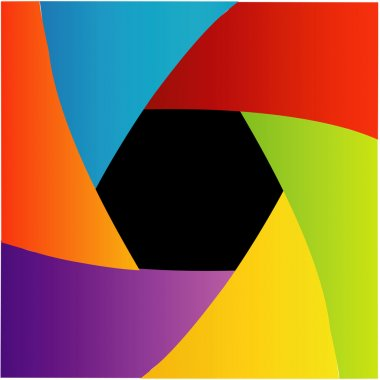 Colorful Shutter aperture background or design element