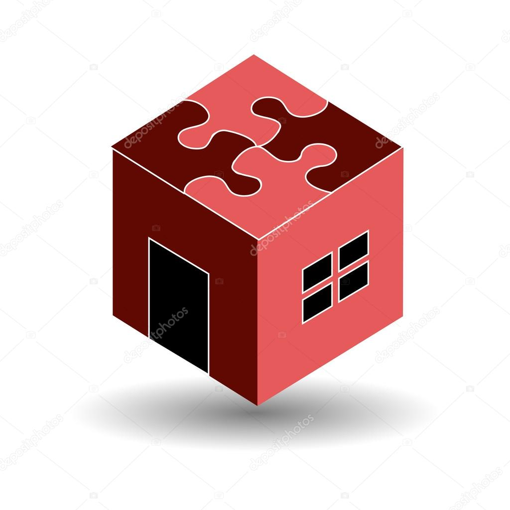 Logo for real estate market with a puzzle roof