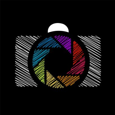 Camera with colorful aperture- photography logo