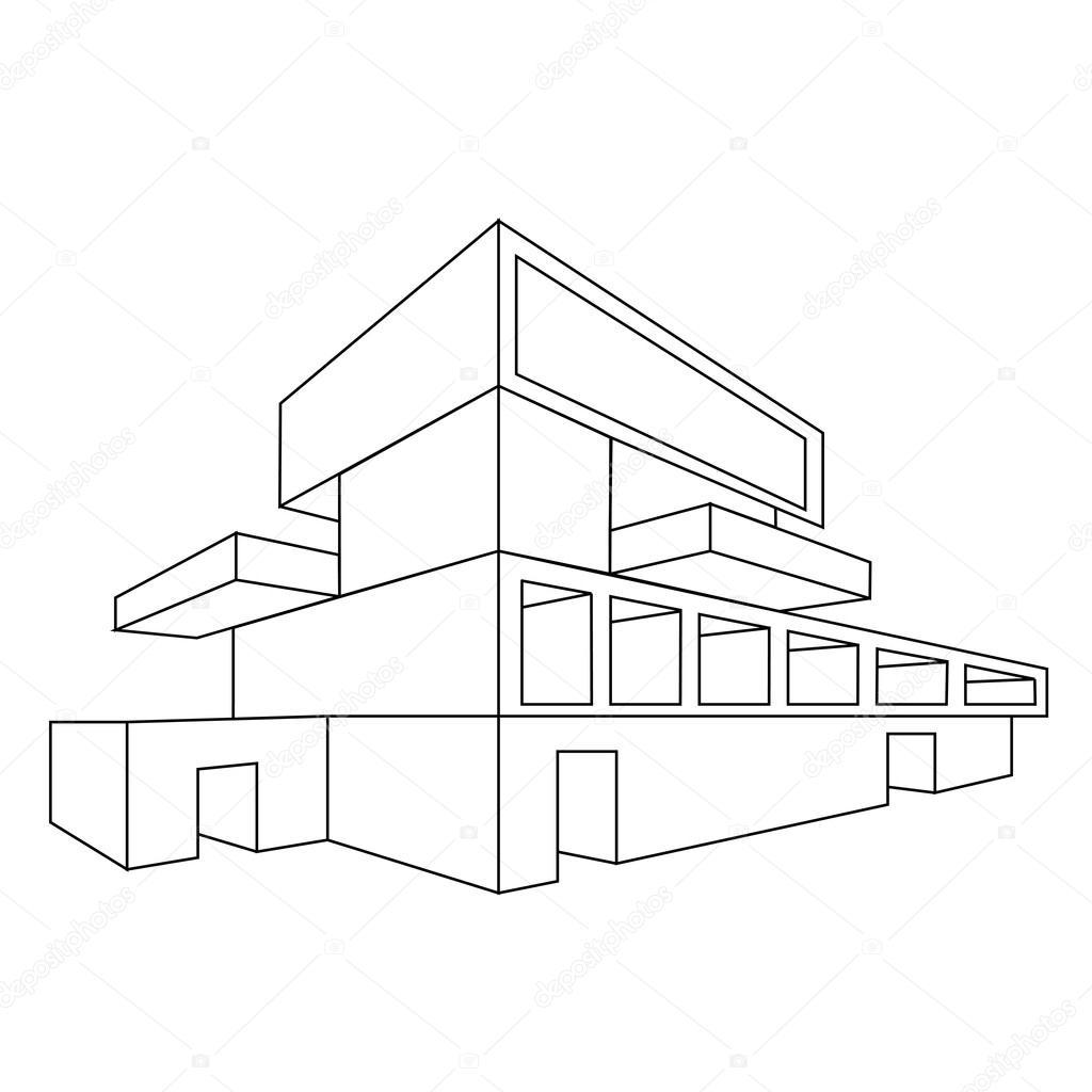 Disegno Di Una Casa In Prospettiva 2d Vettoriali Stock C Shawlin