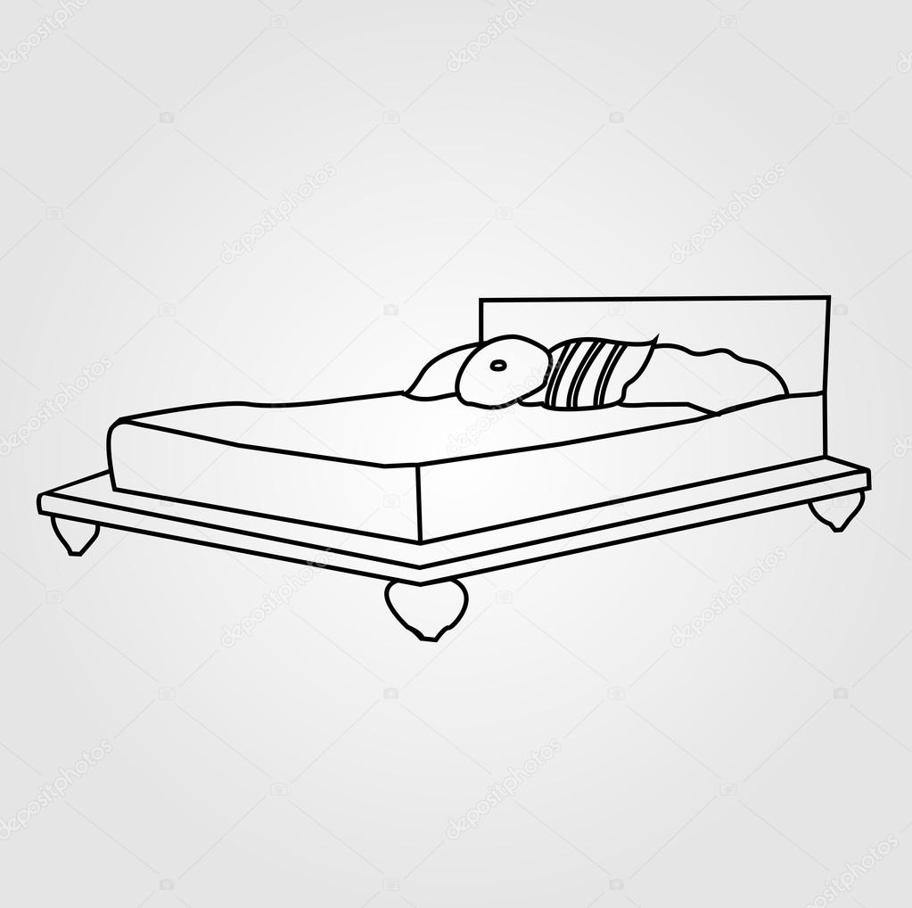 mattress drawing. Drawing Of A Bed For Two \u2014 Stock Vector Mattress