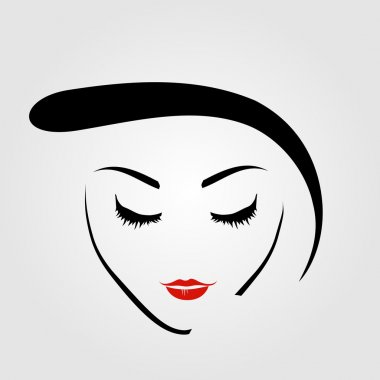 Graphic of a woman with vintage hairstyle and make up