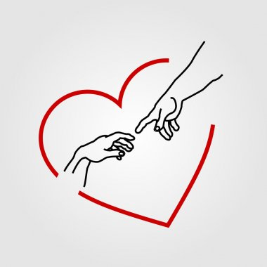 "Картина, постер, плакат, фотообои ""Руки показаны создание Адама в Красное сердце"", артикул 81804156"