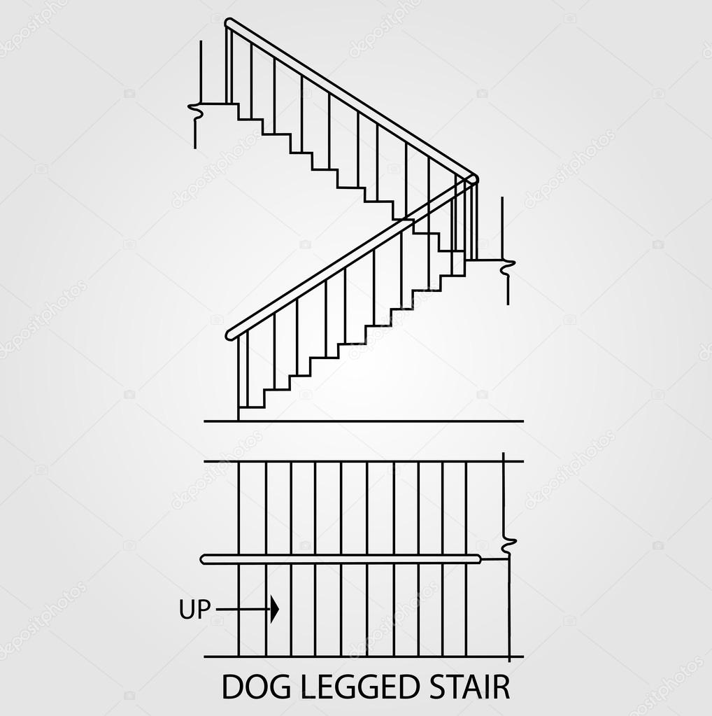 Top View And Front View Of A Dog Legged Staircase Stock Vector