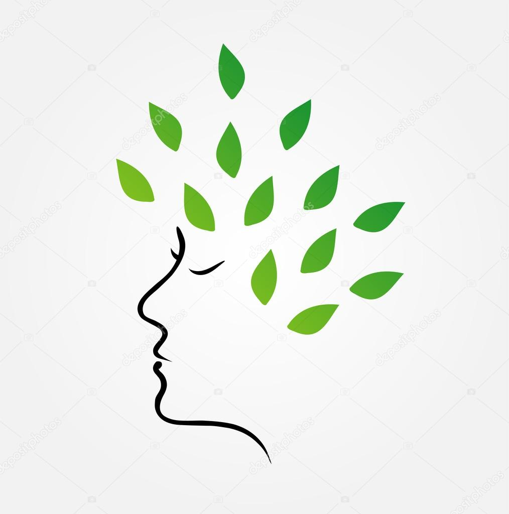 Womans face with green leaves as hair- organic hair care
