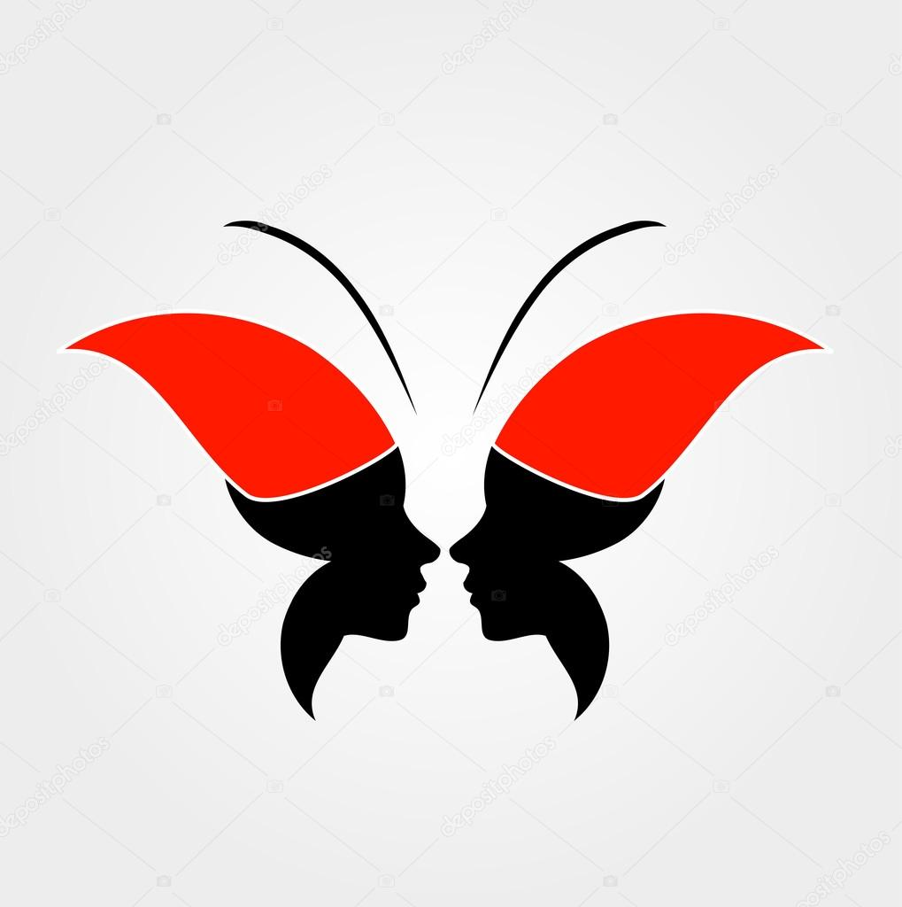 Faces Forming Butterfly Freedom Stock Vector
