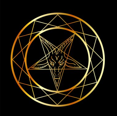 Golden sigil of Baphomet