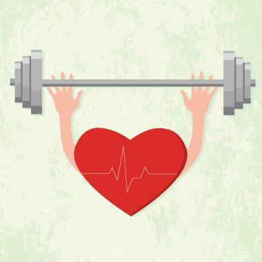 Heart lifting a weight