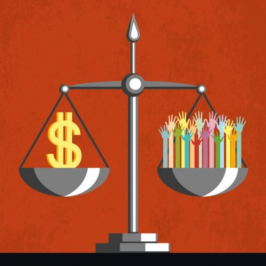 Money and people on scales